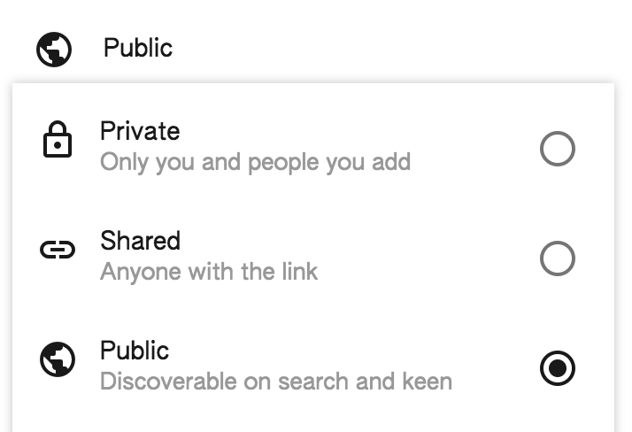How to set Google Keen to Public