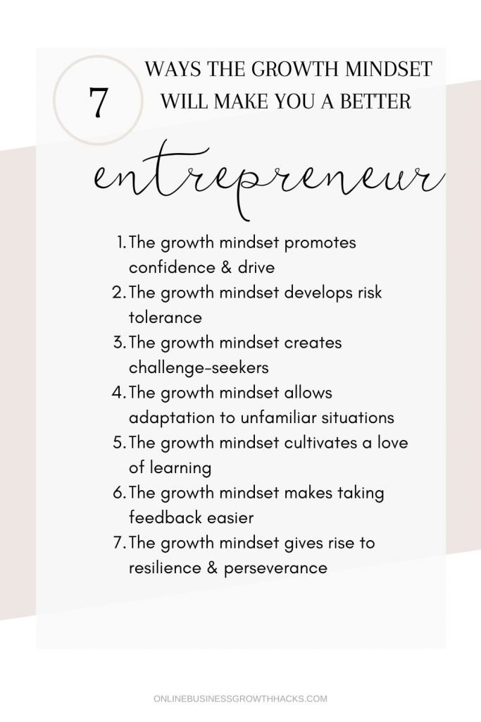 chart showing the 7 ways the growth mindset will make you a better entrepreneur
